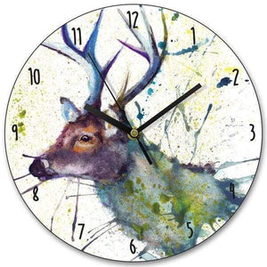 Splatter Stag Wooden Clock - Cordelia's House of Treasures