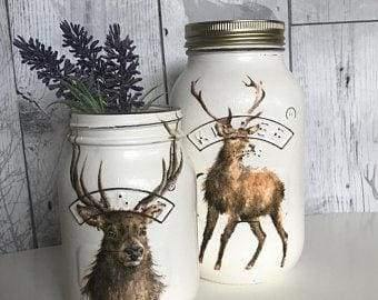 Stag chalk painted mason jar - Artisan group one