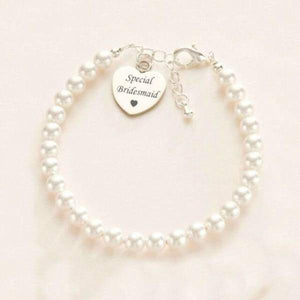 Thank You Bridesmaid- Pearl & Heart Bracelet - wedding gifts
