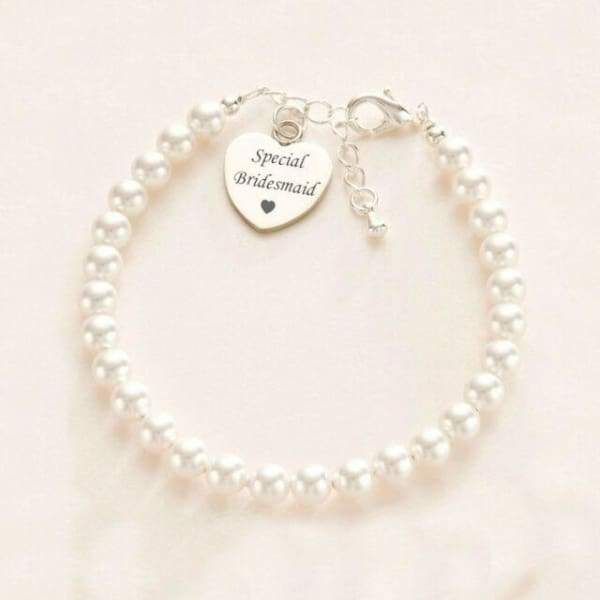 Thank You Bridesmaid- Pearl & Heart Bracelet - Cordelia's House of Treasures