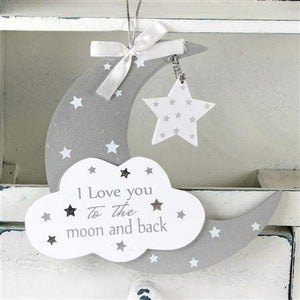 Twinkle Twinkle MDF Moon And Star Hanging Plaque 16.5cm    Larger Photo  Email A Friend  - home