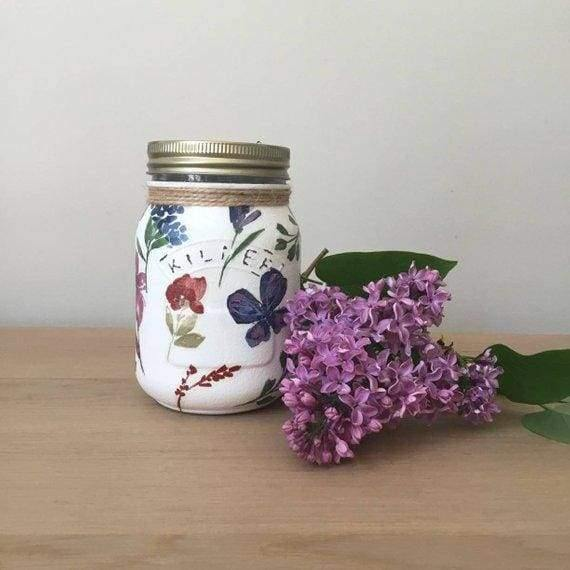 Wildflowers and butterflies chalk painted Kilner Jars - Artisan