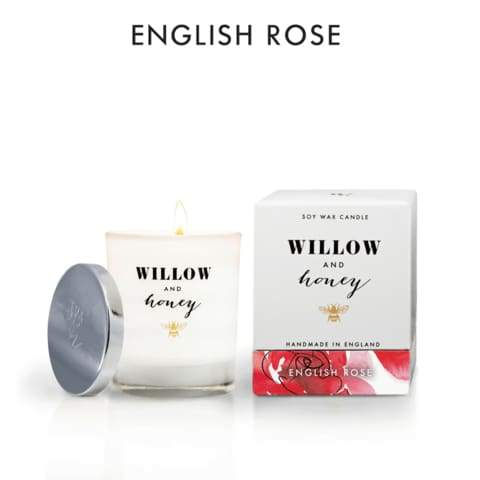 Willow And Honey - 220g English Rose Candle - Cordelia's House of Treasures