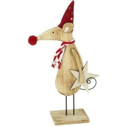 Wooden star Christmas mouse ornament with Santa hat - Christmas Decorations