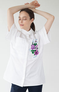 Cotton Shirt With Hand Painted Chest Detail (Originally $320) - Goreea Designs