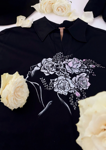 Black Shirt With Front Hand Painted Detail (Originally $320) - Goreea Designs