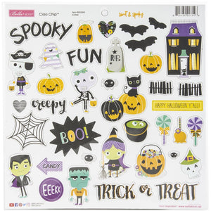"Sweet & Spooky Chipboard Stickers 12""X12"""