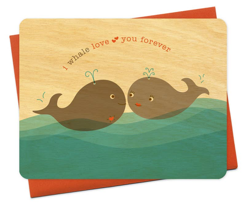 Night Owl Paper Goods - Whale Love You Wood Card
