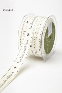 Ribbon 3/4 Inch Ivory Canvas Printed  with Woven Edge