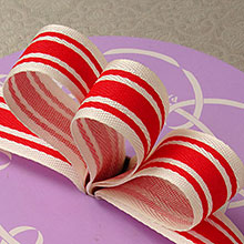 Load image into Gallery viewer, Ribbon Tri Striped Linen 7/8""
