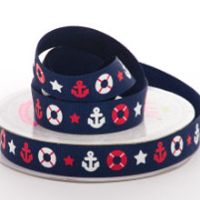 "Load image into Gallery viewer, ribbon 5/8"" navy nautical grosgrain ribbon"
