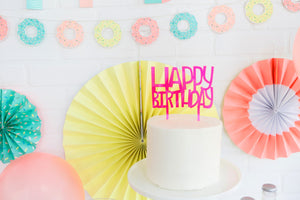 NEP427 - NEON HAPPY BIRTHDAY CAKE TOPPER
