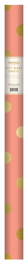 PGW301 - TREND WRAPPING PAPER CORAL WITH GOLD FOIL