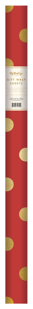 PGW306- PLAID WRAPPING PAPER RED WITH GOLD FOIL