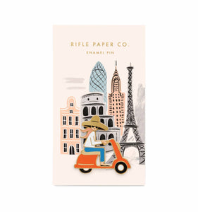 Rifle Paper Scooter Girl Enamel Pin