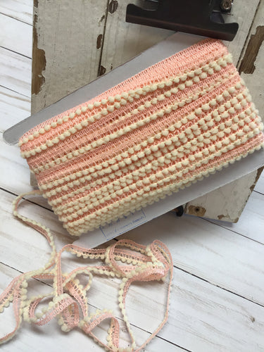 mini  ball fringe peach/ivory by the yard