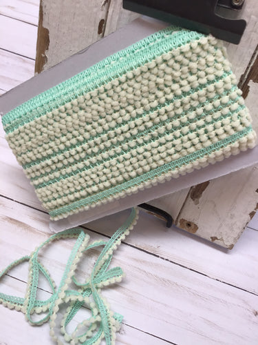 mini ball fringe aqua/ivory by the yard