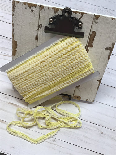 mini ball fringe yellow/ivory by the yard