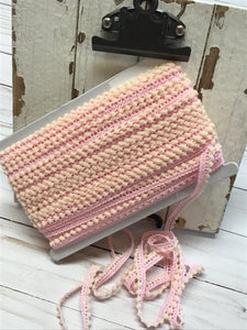 mini ball fringe light pink by the yard