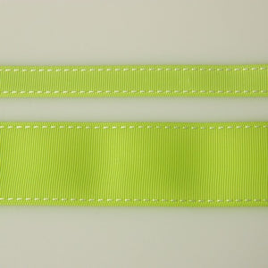 "Ribbon 5/8"" Grosgrain Stitch Lime & White"