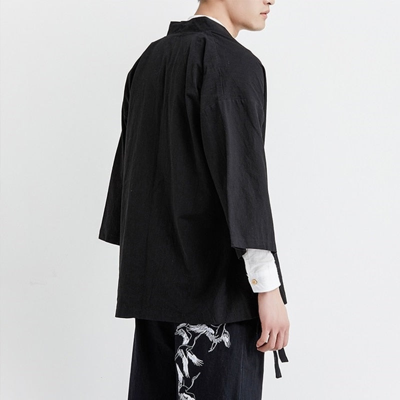Back of japanese black yukata
