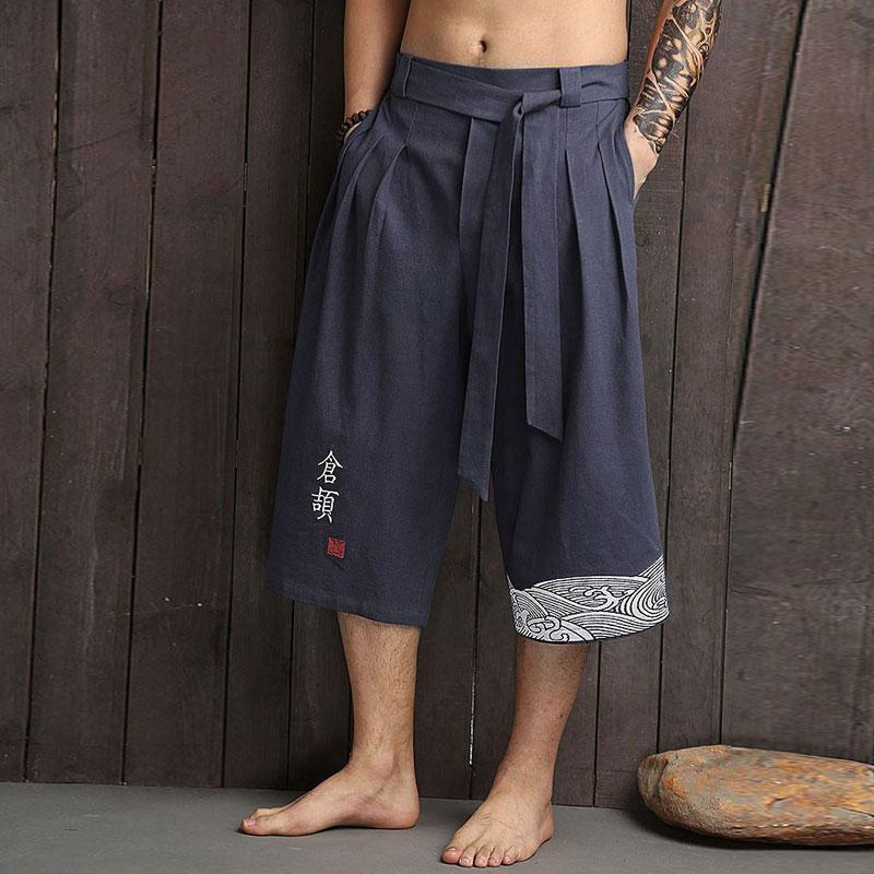 Japanese pants with wave pattern