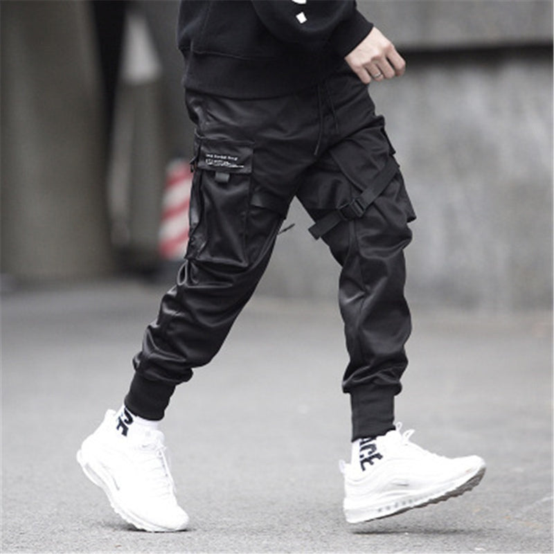 Black jogger pants wearing