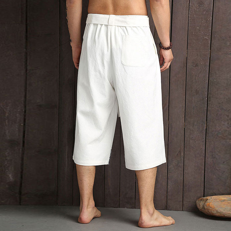 Japanese style white cropped pants