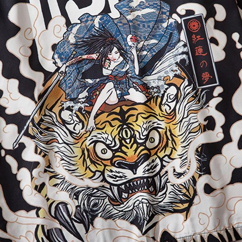Geisha warrior on giant tiger