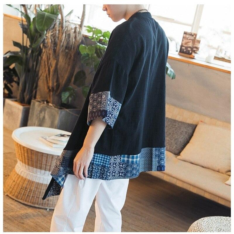 Exxentric pattern black long-sleeved kimono