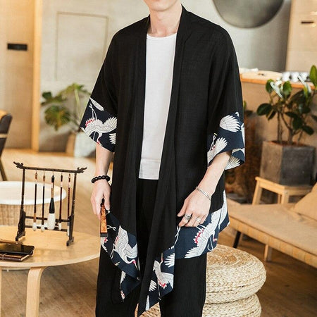 Long Black kimono with flying bird print