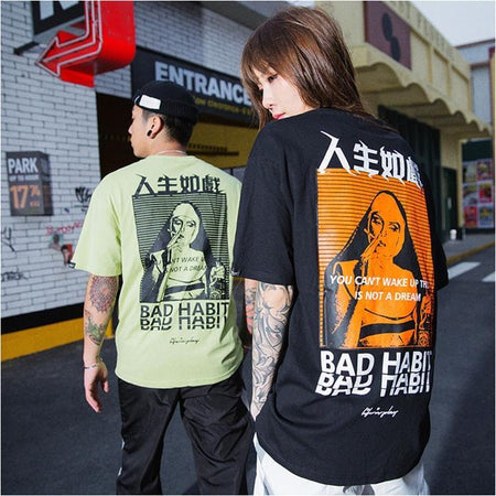 Japanese short-sleeved bad habit t-shirt  (2104371347505)