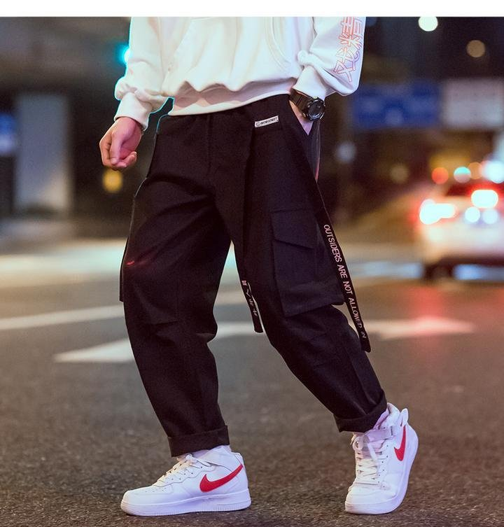 Black cargo pants embroidered (2107960623153)