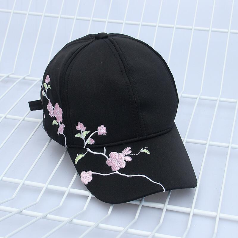 Cherry blossom embroidered black color dad hat (4288627310679)