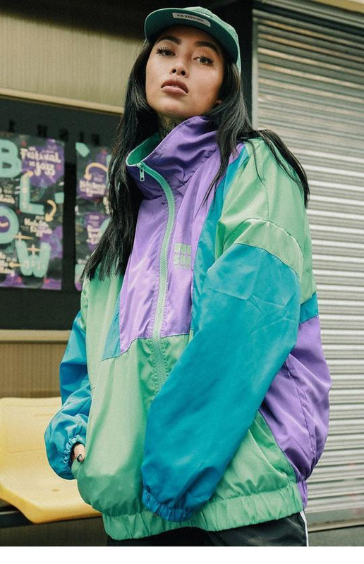 Green and purple vintage windbreaker  (2183364673585)