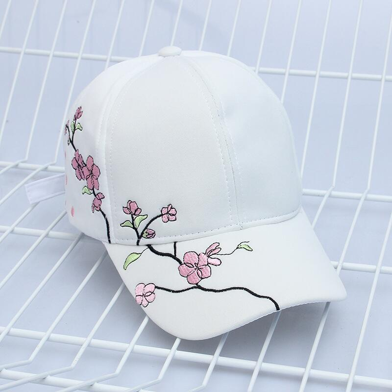 Cherry blossom embroidered white dad hat (4288627310679)