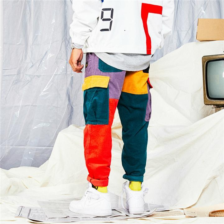 Bright hues color block pants (2108120105009)