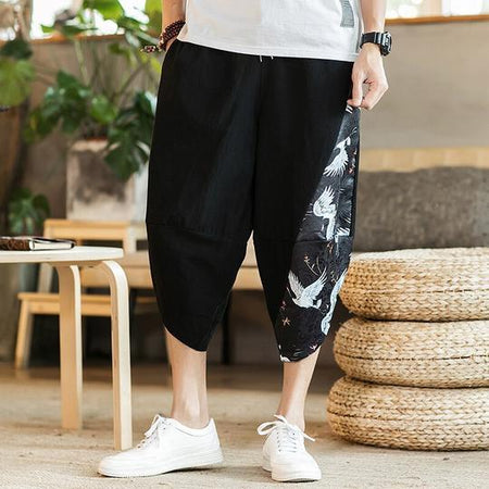 Japanese crane bird black pants