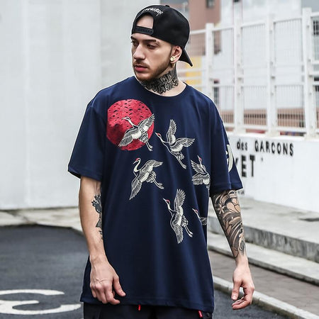 Japanese cranes birds blue t-shirt  (2195157483569)