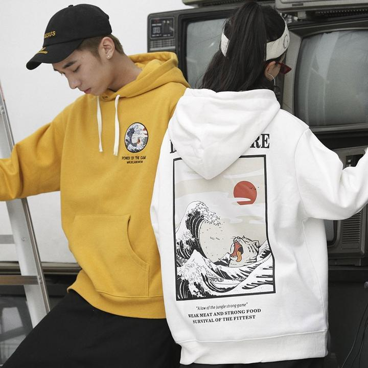 Japanese cat print yellow hoodie (2106754662449)
