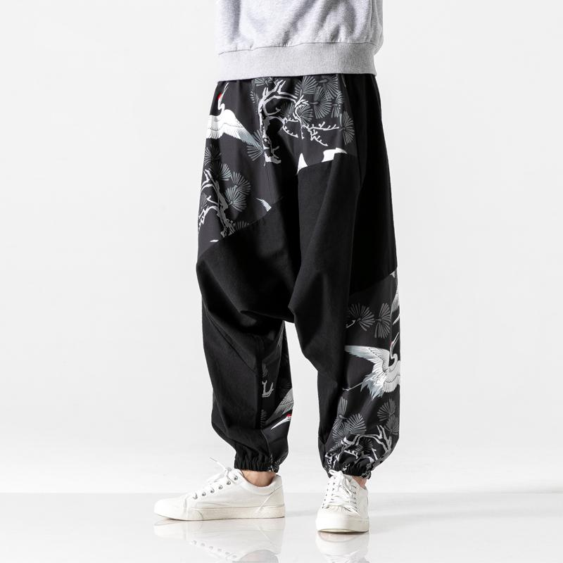 Japanese style black loose fit pants