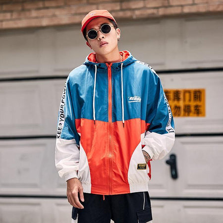 Streetwear fashion colorblock jacket  (2107835777073)