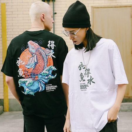 White and black koi fish tee (4345852723287)