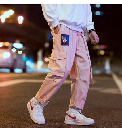 Pink embroidered cargo pants (2107960623153)