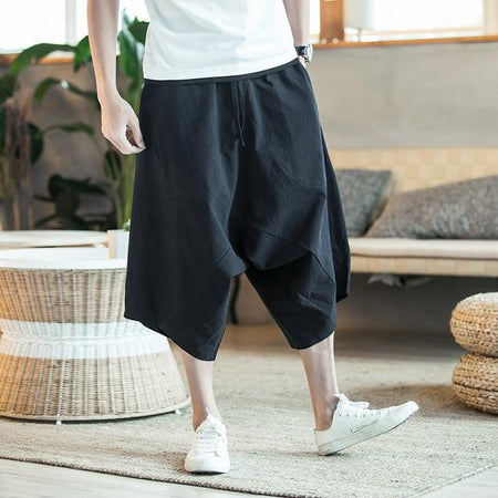 Japanese linen cropped black pants