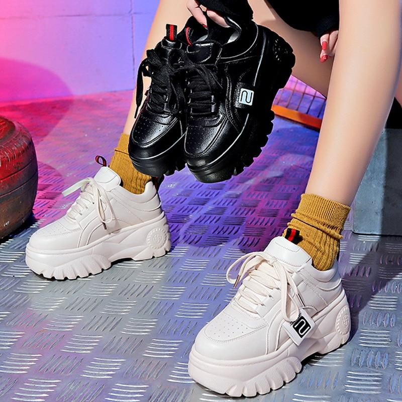 White and black harajuku platform shoes (2203880521777)