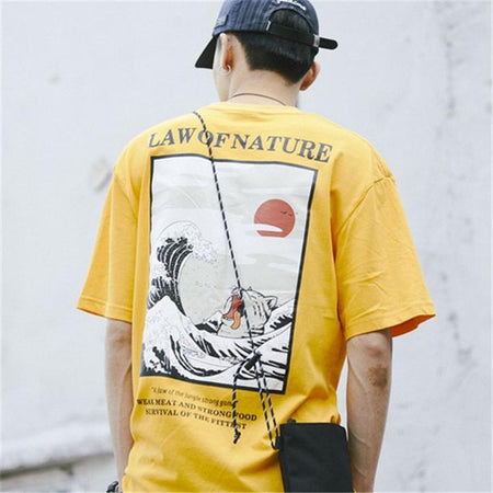 Ukiyo-e cat wave streetwear t-shirt  (2104034787377)