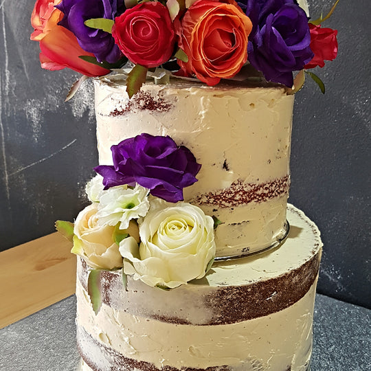 Naked Rustic Rose Wedding Cake