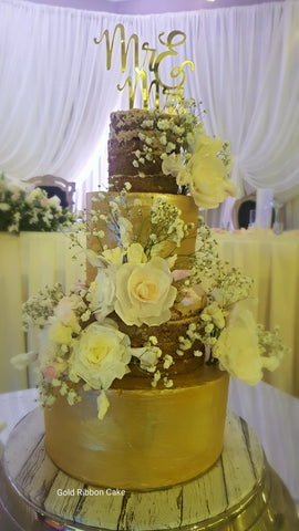 Naked Floral Wedding CakeGold Ribbon Cake