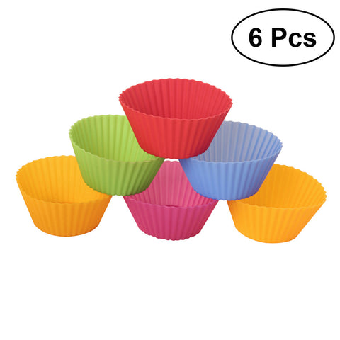 6pcs Round Silicone Muffin Cup LinersGold Ribbon Cake